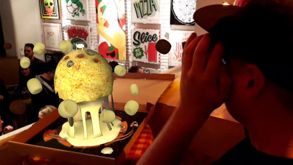Kidcrayon tries Zubr augmented pizza experience art installation