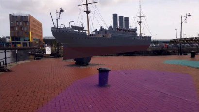 Zubr Calvium Cardiff Bay Gloworks dry dock Augmented Reality past and future binoculars