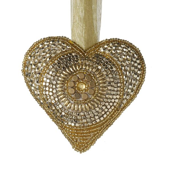 Hanging Beaded Gold Heart