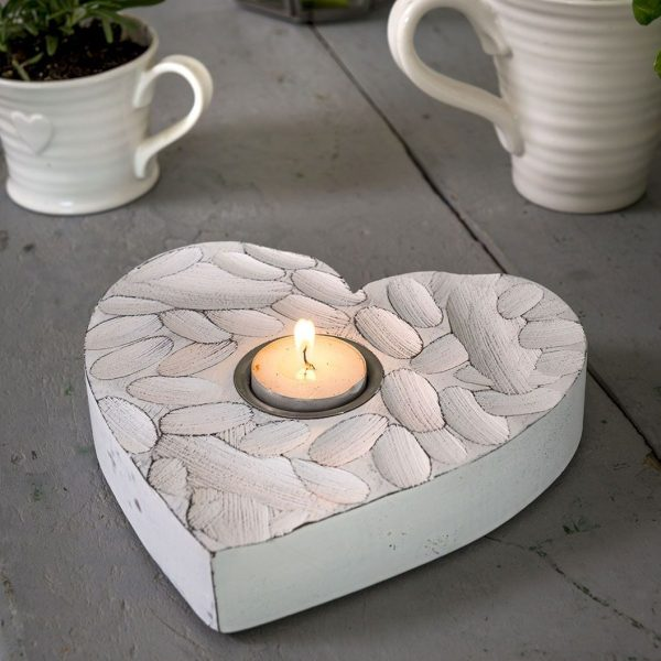 Retreat - White Finger Print Heart Tea Light Holder