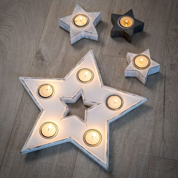 Retreat - White Large Star Tea Light Holder