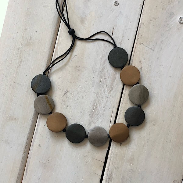 Wooden Disc Necklace in Metallic Colours