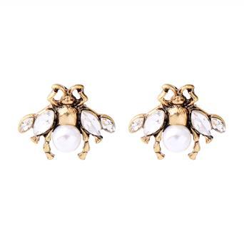 Little Gold & Cream Bee Stud Earring