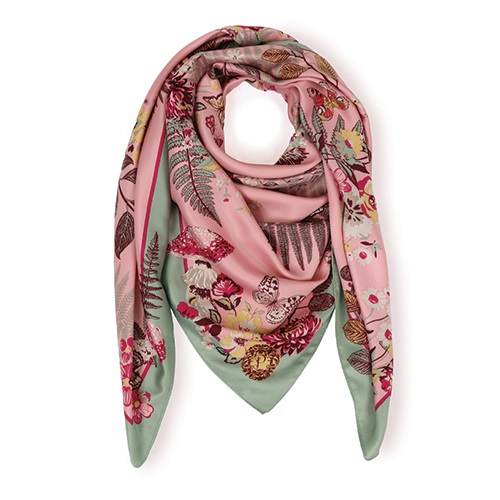 Powder Floral Hedgehog Satin Square Scarf