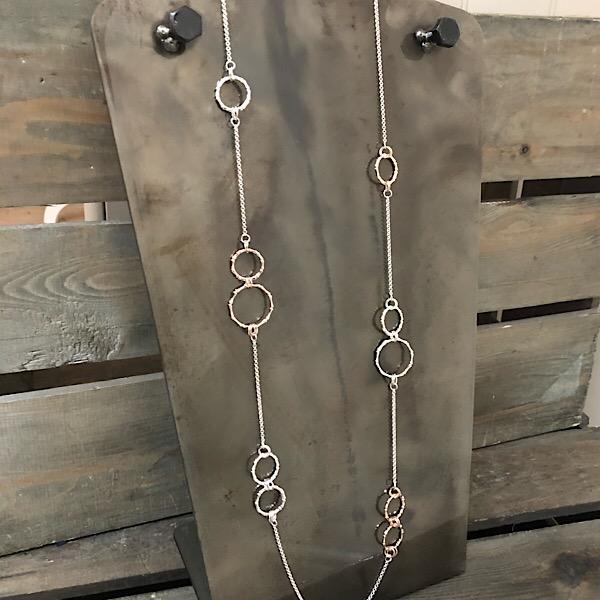 Hoop neckalce silver & rose