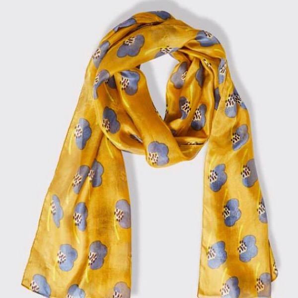 Printed Silk Scarf Hibiscus Mustard