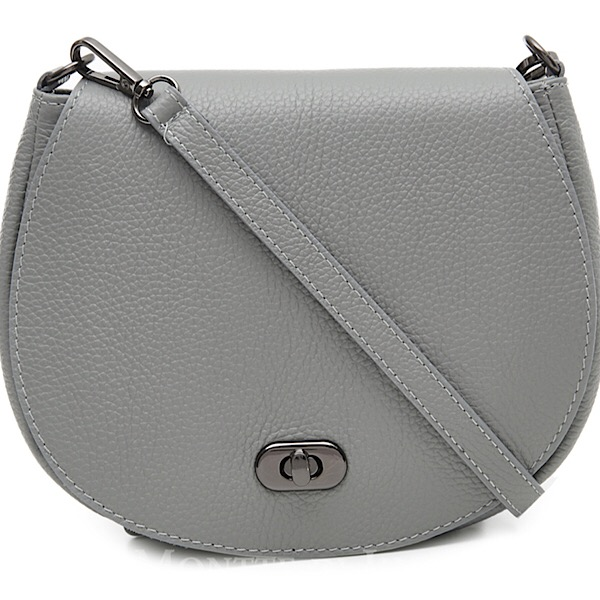 Italian Leather Saddle Bag Light Grey