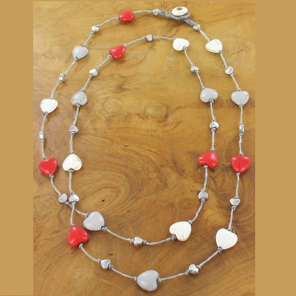 Resin Repeat Heart Long Necklace