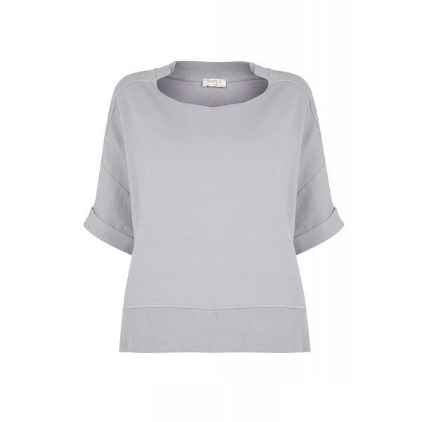 Short Sleeved Oversize Sweatshirt Light Grey (Various Sizes)