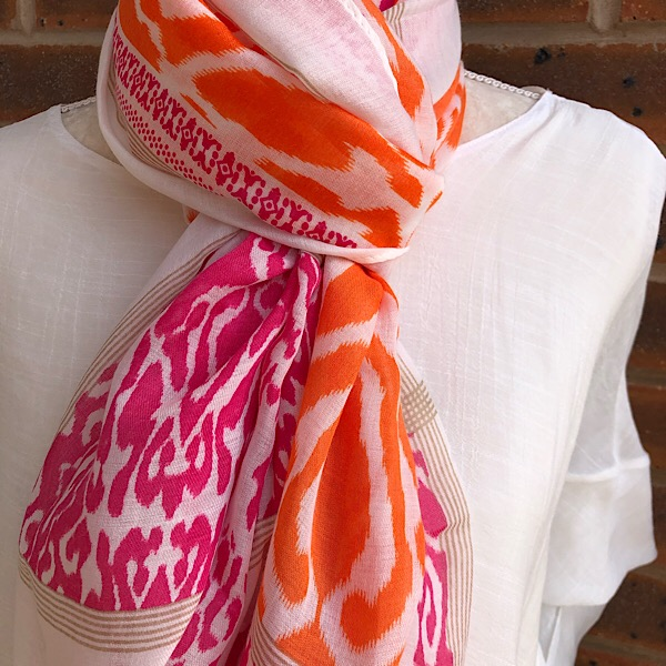Aztec scarf orange pink