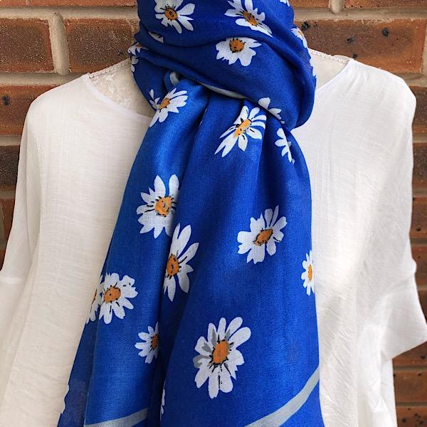 daisy scarf royal blue