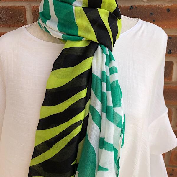 zebra print scarf green