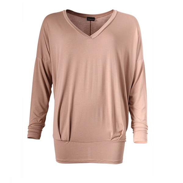 v neck jersey top camel