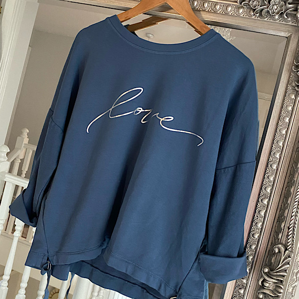 Cropped Love Side Tie Sweatshirt Denim Blue 2