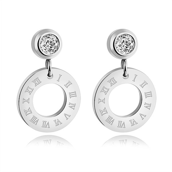Crystal & Roman Numeral Earrings