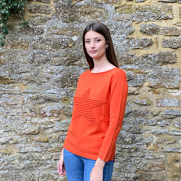 Embossed Star Jumper Orange
