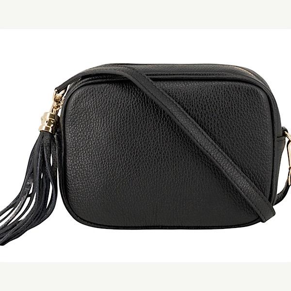 Italian Leather Tassell Bag Black
