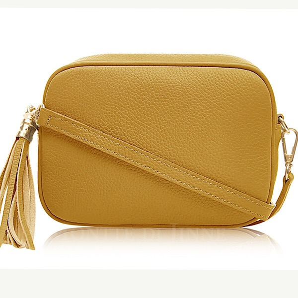 Italian Leather Tassell Bag Mustard