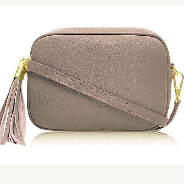 Italian Leather Tassell Bag Taupe