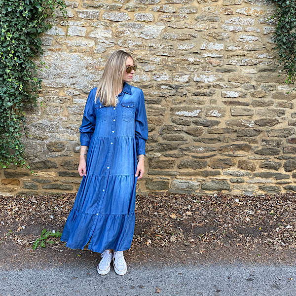 Long Tiered Denim Shirt Dress