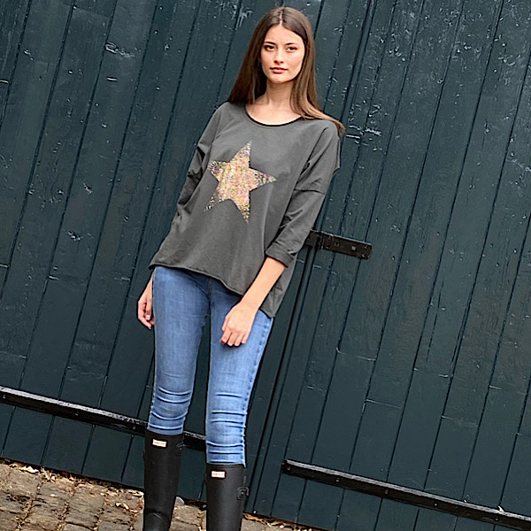 Star Crew Neck Sweatshirt Charcoal