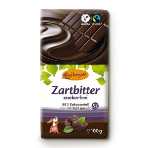 Birkengold Xylit Schokolade Zartbitter 100 g. Birkengold Xylit Schokolade kaufen im Shop. Vegane Xylit Schokolade, nur mit Xylit gesüßt 55% Kakaoanteil.
