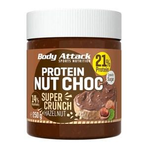 Body Attack Protein Schoko-Aufstrich Nut Choc Hazelnut Super Crunch 250g kaufen. Protein Aufstrich von Body Attack mit 21% Eiweiß / 100 g. Protein Aufstrich