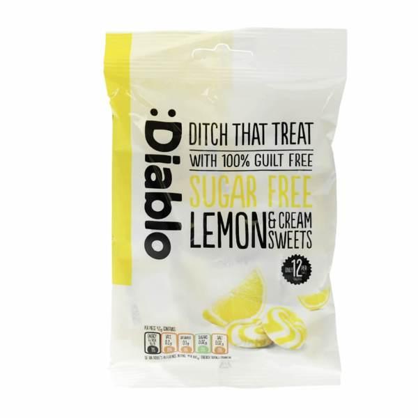 "Diablo zuckerfreie Bonbons ""Zitrone-Sahne"" 75 g, zuckerfreie Bonbons kaufen, Sahnebonbons ohne Zucker, zuckerfreie Sahnebonbons"