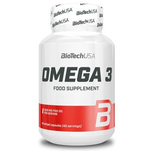 BioTech USA Omega 3 1000 mg mit EPA und DHA 90 Kapseln. Omega 3 Kapseln kaufen. 1.000 mg Fischöl, EPA 400 mg, DHA 300 mg, 2mg Vitamin E. Omega 3 Kapseln >