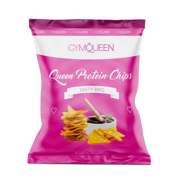 GymQueen Queen Protein Chips Tasty BBQ 50 g. 22 g Eiweiß, 70% weniger Fett und 40% weniger Kohlenhydrate. GymQueen Proteinchips für Genuss ohne Reue!