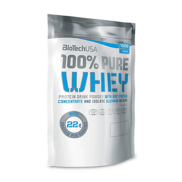 BioTech USA 100% Pure Whey SCHOKOLADE 1 kg Beutel. Herzhaftes Proteinpulver im Geschmack Strawberry Erdbeer mit BCAAs. Muskelnahrung für jedermann.
