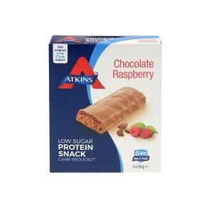 Atkins Chocolate Raspberry Proteinriegel Minis Multipack 150 g (5 x 30 g). Proteinsnack für zwischendurch. Köstlicher Schokoladen-Himbeer-Geschmack.