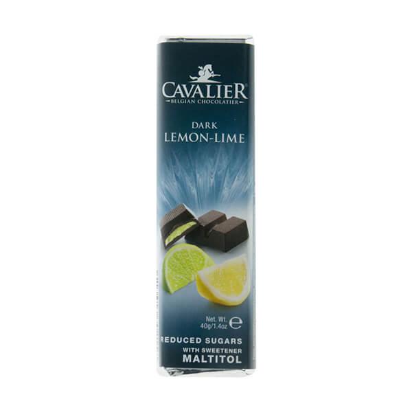 Cavalier Schokoriegel DARK LEMON-LIME Zartbitter Zitrone-Limette 40 g. Hochwertige Schokolade mit Maltit gesüßt. Köstlicher Zitronen Geschmack.