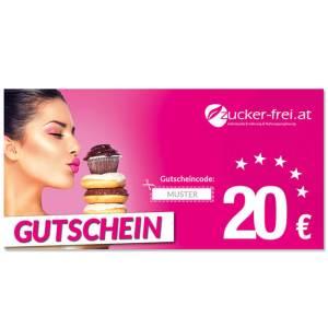 20 Euro Wertgutschein für www.zucker-frei.at ➤ Lebensmittel zuckerfrei - Low Carb Produkte - LCHF Produkte / Diabetiker lieben unseren Zucker-frei Shop