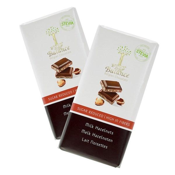 Balance Schokoladentafel Milk Hazelnuts mit Stevia gesüsst 85 g. Schokolade ohne Zucker Milch Haselnuss - 51,3 kCal / Portion. Gesüßt mit Maltit & Stevia!