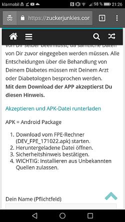 Download der APK-Datei