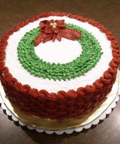 buttercream cake christmas wreath 906974 - Buttercream Cake Christmas Wreath