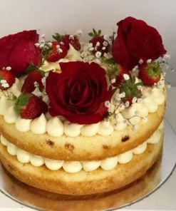 strawbery - Strawberry and Roses Design Cake