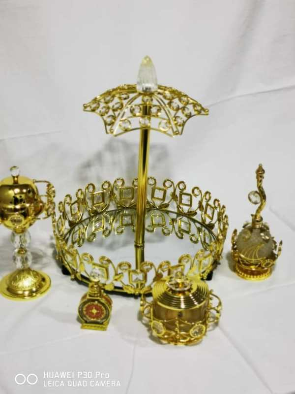 WhatsApp Image 2020 06 03 at 7.42.08 PM - Gold Tray set with bowl burner with Small Attar And Perfume Bottle