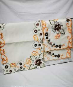 WhatsApp Image 2020 06 03 at 7.43.53 PM - Coffee Table Cloth with 4 Pc side Table Cloth - Cream and Orange
