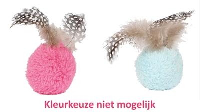 Happy pet dotties bal met veren assorti