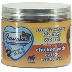 Renske hond gezonde beloning mini hartjes kip / wortel