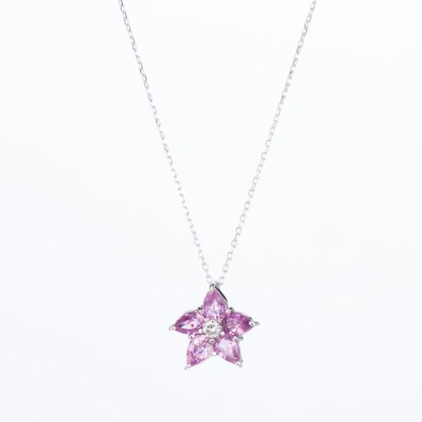 ブルーム ピンクサファイア ホワイトゴールド製ダイヤモンドペンダントネックレス