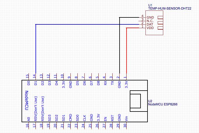 Pin Belegung Schema NodeMCU und Sensor