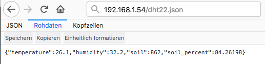 JSON Ausgabe NodeMCU (ESP8266)