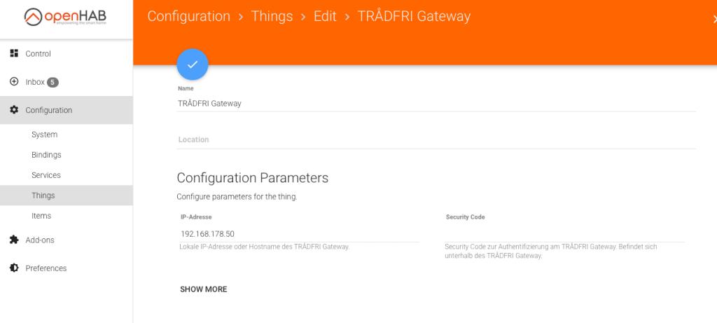 Ikea Tradfri Binding openHAB - Gateway als Thing hinzufügen