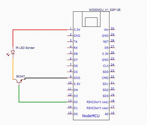 Aufbau Infrarot Fernbedienung Sender Nodemcu