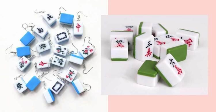 blue green mahjong earrings
