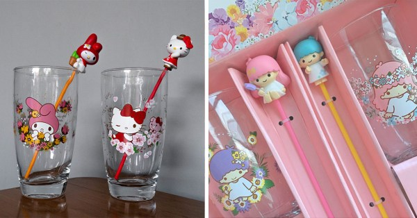 These Kawaii Sanrio Glasses With Matching Stirrers Starring Hello Kitty & Friends Will Soon Be Available At 7-Eleven