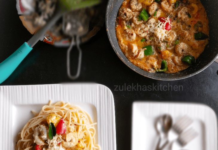 Garlic Butter Shrimp Pasta ( Spaghetti )
